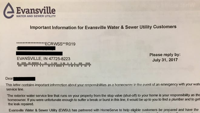 A letter from the Evansville Water and Sewer Utility went out to customers advertising a private company's water line coverage.