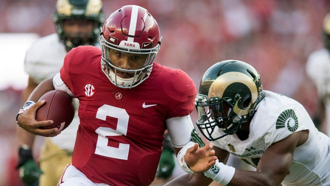 Alabama quarterback Jalen Hurts (2) scores a touchdown against Colorado State at Bryant-Denny Stadium in Tuscaloosa, Ala., on Saturday September 16, 2017.