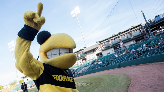 Alabama State University mascot Stinger before ASU plays Mississippi State University at Riverwalk Stadium in Montgomery, Ala. on Wednesday April 11, 2018.
