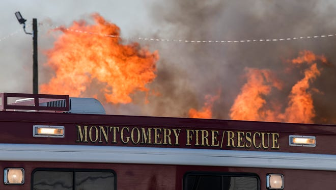 Montgomery Fire Fighters fight a fire off of Furnace Street in North Montgomery, Ala. on Wednesday April 18, 2018.