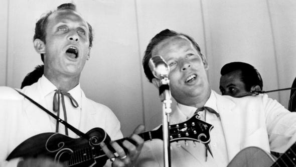 The Louvin Brothers — Ira, left, and Charlie — play