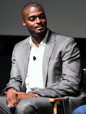 """Plaxico Burress speaks onstage at Tribeca Talks/ESPN Sports Film Festival: """"The Greatest Catch Ever"""" during the Tribeca Film Festival at SVA Theater on April 19, 2015, in New York City."""