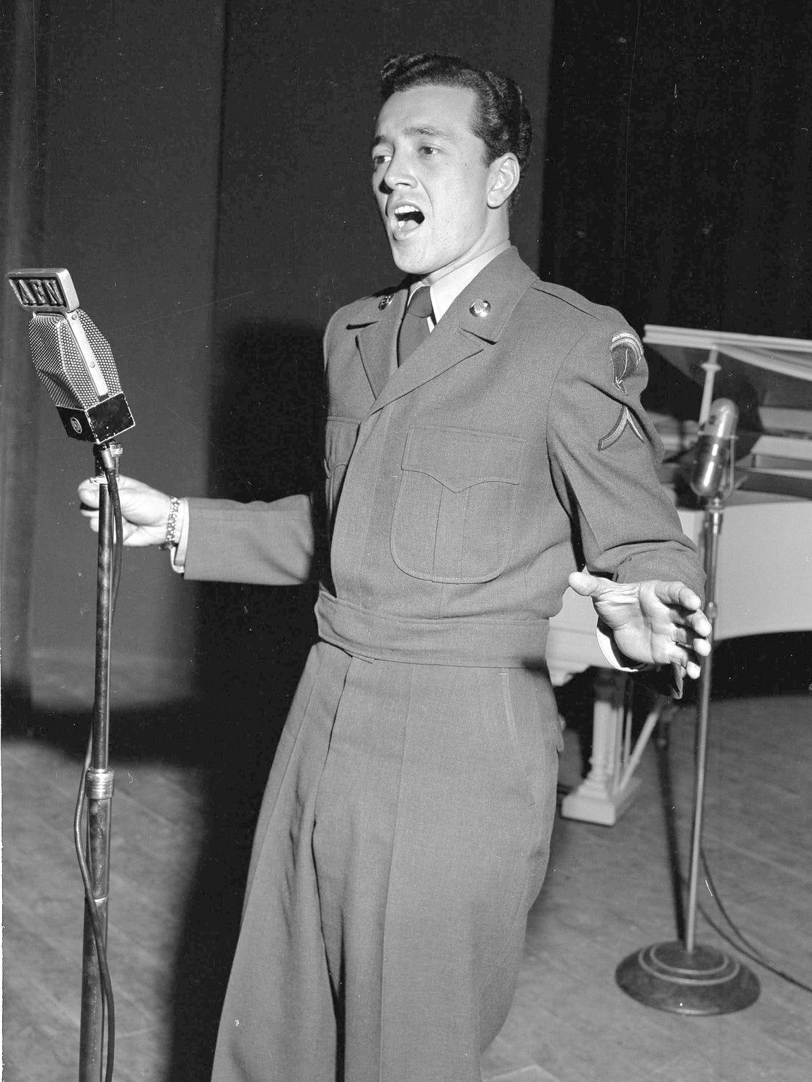 Pfc. Vic Damone, former radio, TV and stage singer,