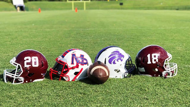 Football helmets from Spring Hill, Mt. Pleasant and Columbia Central were on display for media day at Lindsey Nelson Stadium.
