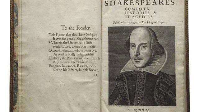 "The title page of The First Folio, published in 1623, seven years after Shakespeare's death. The First Folio is the first collected edition of Shakespeare's plays. Without it, we would not have 18 of Shakespeare's plays, including ""Macbeth,"" ""Julius Caesar,"" ""Twelfth Night,"" ""The Tempest,"" ""Antony and Cleopatra,"" ""The Comedy of Errors"" and ""As You Like It."" UI Libraries will host First Folio! The Book that Gave Us Shakespeare, a national traveling exhibition of the Shakespeare First Folio, in 2016."