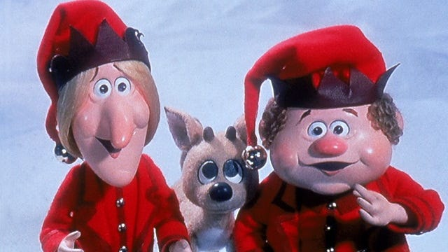 """Jangle Bells, left, and Jingle Bells from """"The Year Without a Santa Claus."""""""
