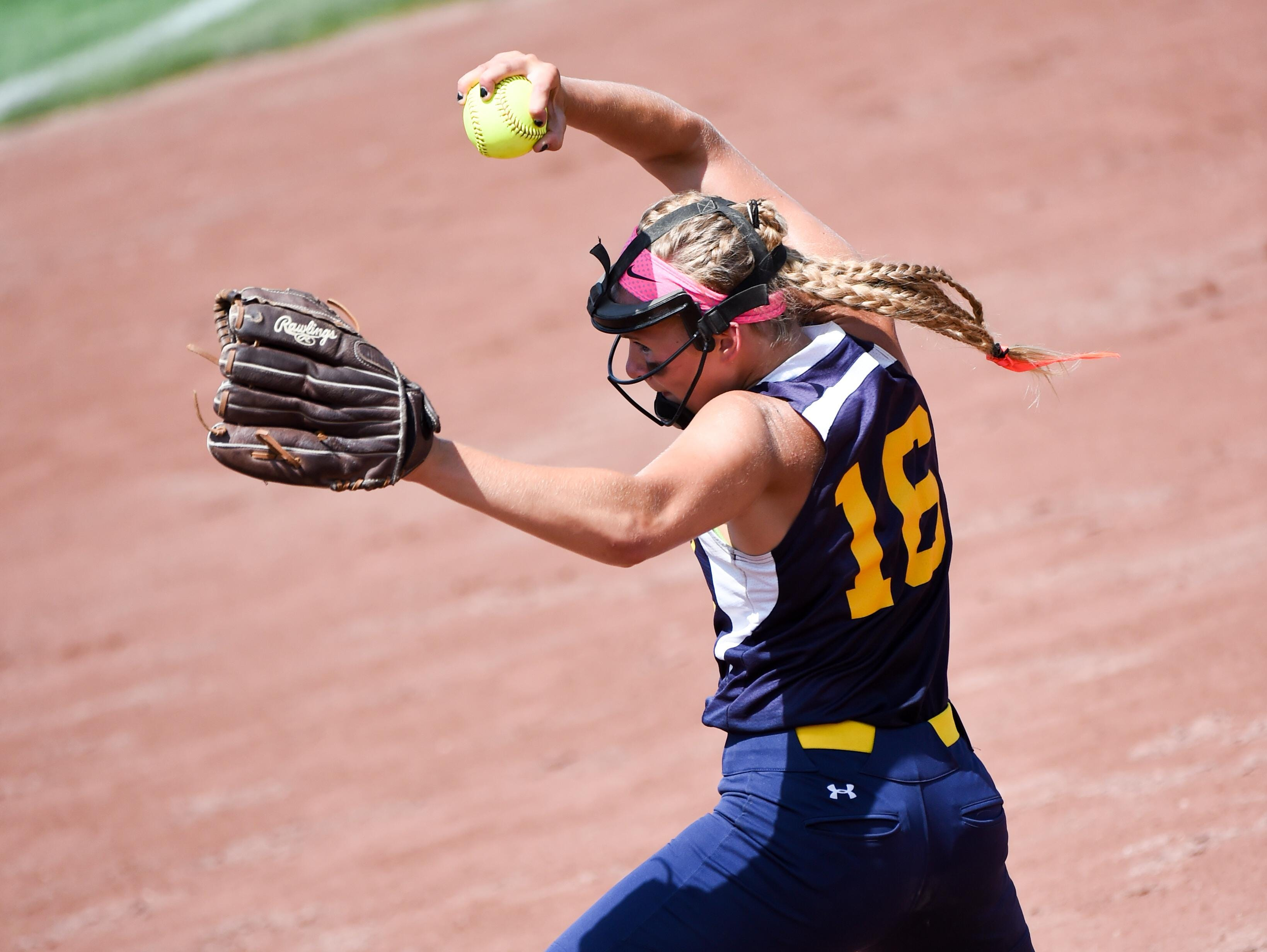 Regina pitcher Sarah Lehman winds up for a throw on Thursday, July 23, 2015, during the Class 2-A semifinals.