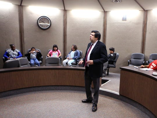 Judge Bobby Galvan, of the 94th District Court, talks with students from Evans Elementary School during a tour of the Nueces County Courthouse on Thursday, May 18, 2017.
