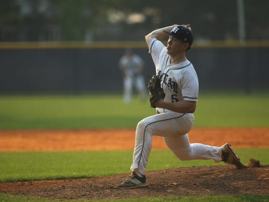 Maclay's Lucas Briggs fires a pitch Tuesday against NFC.