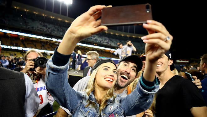 Justin Verlander and Kate Upton take a selfie after the Houston Astros defeat the Los Angeles Dodgers in Game 7 of the World Series.