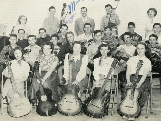 Jean Shepard, on the left and back row, appears on the Visalia Senior High School's Western Band Club on a photo published on the 1951 year book. Shepard, who was inducted into the county music hall of fame on 2011, died on Sunday.