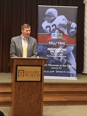 "Green Bay Packers president and CEO Mark Murphy speaks to the media at an announcement event for the ""Gridiron Glory"" exhibit at the History Museum at the Castle in Appleton."