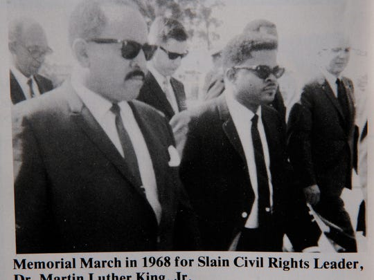 Brevard civil rights leaders Rudy Stone and W.O. Wells are pictured in a 1968 memorial march after the assassination of the Rev. Martin Luther King.