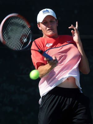 Palm Desert's Connor Rapp, seen here in the CIF first round, helped the Aztecs cruise to the CIF quarterfinals with three winning sets on Friday.