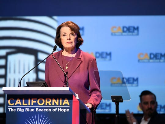 Sen. Dianne Feinstein, D-Calif. speaks at the 2018 California Democrats State Convention Saturday, Feb. 24, 2018, in San Diego. (AP Photo/Denis Poroy)