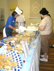 A mouth-watering selection of pastries and desserts was available inside the building.