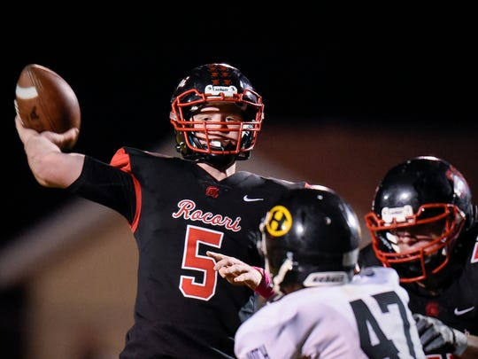 Rocori quarterback Mason Primus makes a pass against Hutchinson's during the first half  Friday, Oct. 13, in Cold Spring.