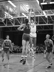 Peter Hansen goes up for a shot during Manitowoc's sectional final victory over Neenah at JFK Fieldhouse. The Ships would go on to win the 1968 state championship.