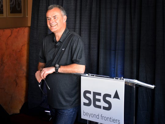 Martin Halliwell, chief technology officer of Luxembourg-based satellite operator SES, held a press conference Tuesday at Port Canaveral about the company's upcoming historic launch of the SES-10 communications satellite on a refurbished SpaceX booster.