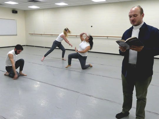 "Professor Charlie Bondhus rehearses ""A Soldier to Himself"" with RVCC dance students (from left) Nathan Forster, Layla Grier and Elanna Etemad. The piece is choreographed by Professor Loretta Fois."