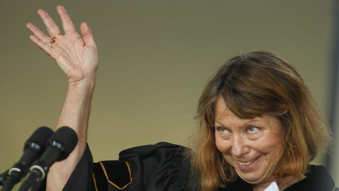 Jill Abramson waves after speaking during commencement ceremonies for Wake Forest University on May 19 in Winston-Salem, N.C.