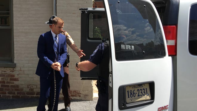 Christopher S. Diehl, 32, of Fishersville, boards a van headed for Middle River Regional Jail after being convicted in Augusta County Circuit Court in Staunton, Va., on Thursday, June 1, 2017.