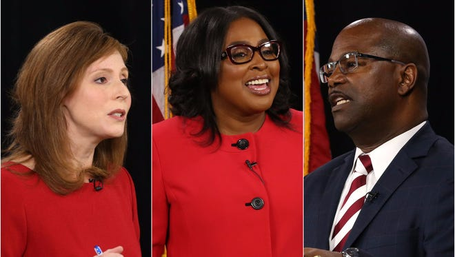 Rochester mayoral candidates, from left, Rachel Barnhart, Lovely Warren and James Sheppard