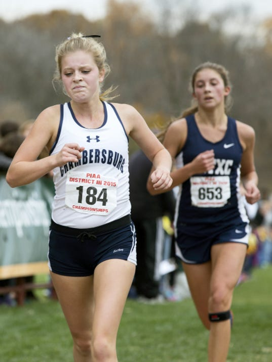 Chambersburg's Cadie Kiser was one of three Trojans to finish in the top 20 on Saturday at the District 3 Cross Country Championships. She snuck into 20th place in 19:30 and helped the Trojans place fourth in the team standings.