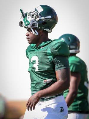 "Freshman running back LJ Scott has already opened eyes in MSU's preseason camp. ""He's gonna be a beast,"" junior linebacker Riley Bullough said."