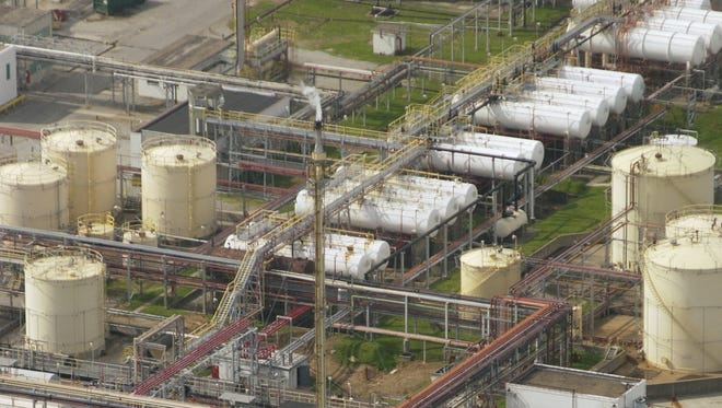 A maze of pipes and tanks run through the American Synthetic Rubber Co. which is the largest industrial emitter of butadiene in the Louisville area.