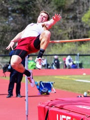 Milford's Mitch Appleton goes airborne in the high