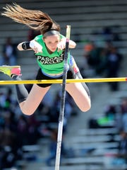 "Melissa Purcell, of Pascack Valley was stopped at 11' 11.75"" at Penn Relays. Thursday, April 26, 2018"