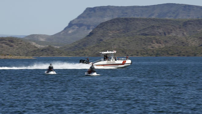 Peoria Fire Department rescue boat  on Wednesday, April 1, 2015, at Lake Pleasant in Peoria.