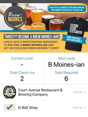 """A screenshot of """"Brew Moines,"""" a mobile application launched by Catch Des Moines. Brew Moines rewards craft beer enthusiasts for visiting local breweries."""