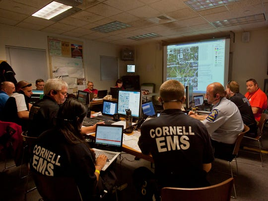 Emergency officials and organizers set up a command post more than a mile from the main event to help coordinate actions on the ground.
