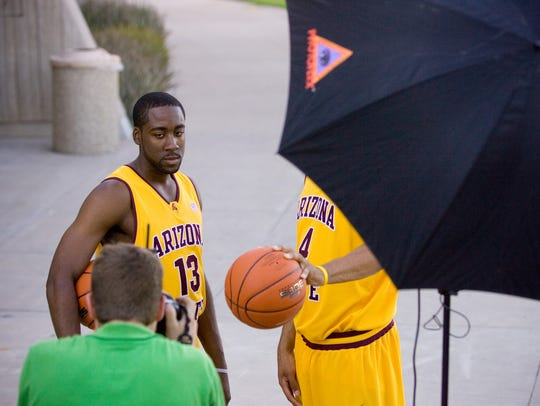 James Harden poses at ASU media day prior in Tempe on Oct. 16, 2008.