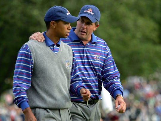 Tiger Woods and Phil Mickelson were briefly partners during the 2004 Ryder Cup at Oakland Hills.