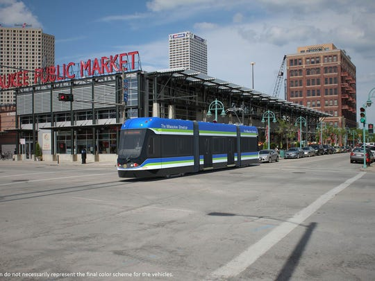 A rendering of the Milwaukee Streetcar.