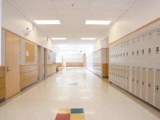 Lockers in a high school