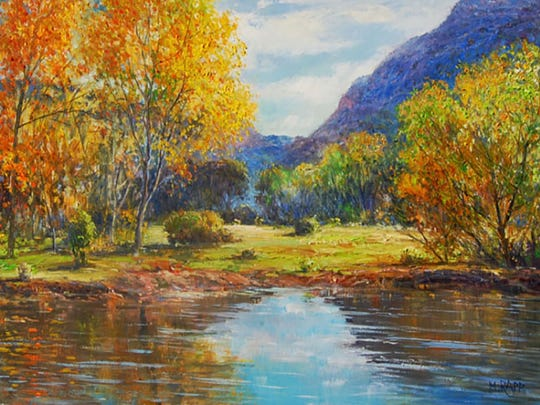 Paintings by the featured artist, Manfred Rapp, of