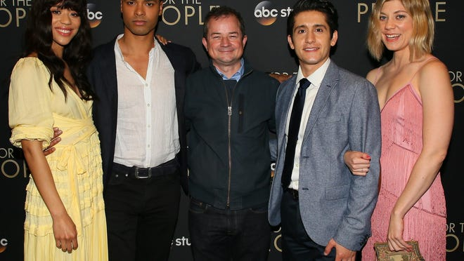 """Jasmin Savoy Brown, Rege-Jean Page, Paul William Davies, Wesam Keesh and Susannah Flood attend the premiere of ABC's """"For The People"""" on March 10 in West Hollywood, California."""