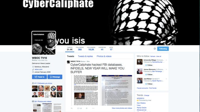 A group sympathetic to the group ISIL hacked WBOC's Twitter account.