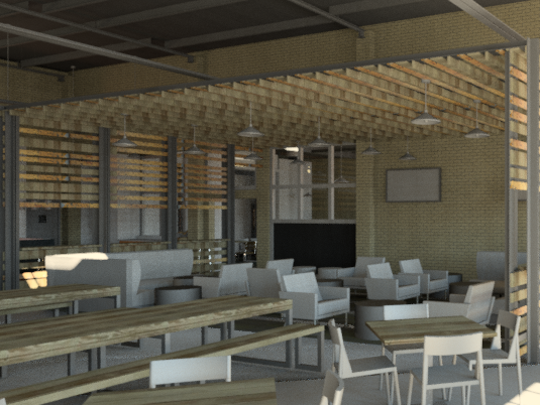 A digital rending for the beer hall plans inside the