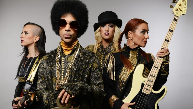 Prince and 3RDEYEGIRL, who are Donna Grantis, from left, Louisville's Hannah Ford Welton and Ida Kristine Nielsen.