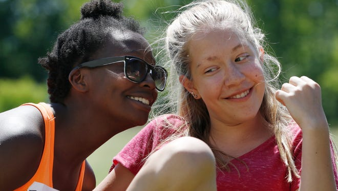 Capitol Civic Center's theater arts camp participants Erin Sievert, left, and Allie Slowiak perform a improvisation scene during an acting activity at UW-Manitowoc on Tuesday, June 22. Twenty-six kids have participated the week-long theater camp.