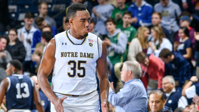Notre Dame Fighting Irish forward Bonzie Colson (35) reacts after a basket in the first half against the Mount Saint Mary's Mountaineers at the Purcell Pavilion.