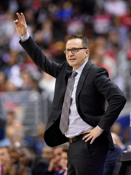Washington Wizards coach Scott Brooks gestures during the second half in Game 2 of the team's first-round NBA basketball playoff series against the Atlanta Hawks, Wednesday, April 19, 2017, in Washington. The Wizards won 109-101. (AP Photo/Nick Wass)