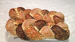 Sweet round challah comes in five flavors: plain, and with sesame seeds, raisins, chocolate or poppy seeds. Each is $5. Apple vanilla babka is $12 for a large loaf and chocolate cake (parve) is $7 (small) and $10 (large). Place orders until noon Tuesday. Pick up from the bakery, near 16th street and Buckeye road in Phoenix, from 10 a.m. to 3 p.m. Wednesday. Details: 1620 S. 16th St., Phoenix. 415-299-7773, jerusalembakeryaz.com.