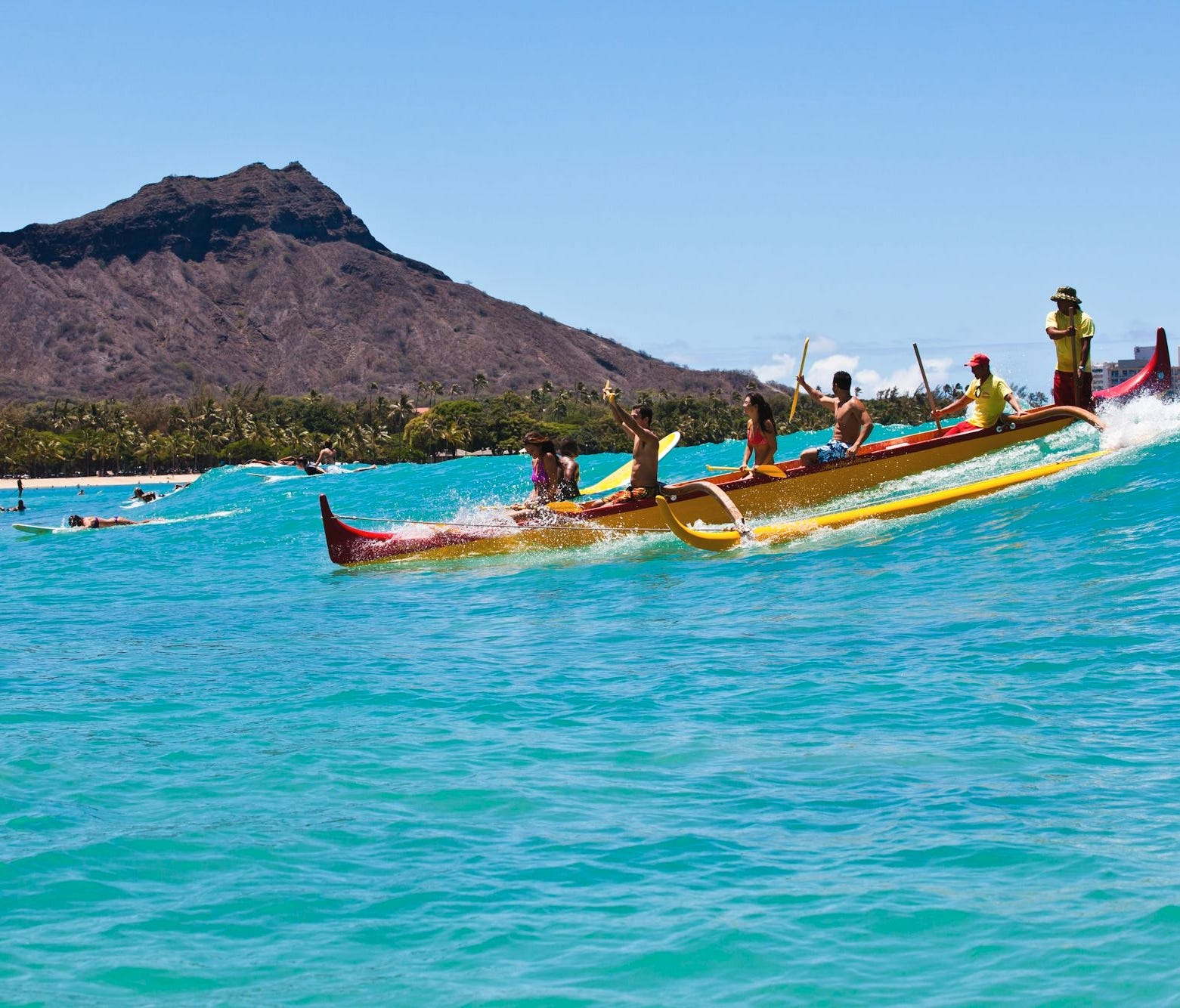 Outrigger canoeing is a great way to ride the waves of Waikiki.