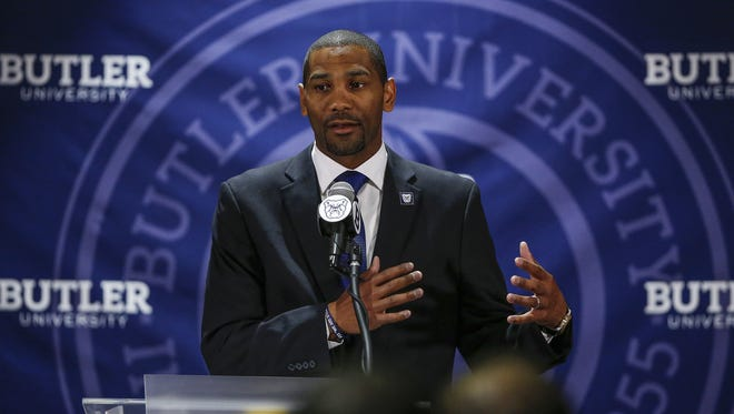 LaVall Jordan speaks to the crowd gathered after being introduced as the Butler menÕs basketball coach at Hinkle Fieldhouse on Wednesday, June 14, 2017.